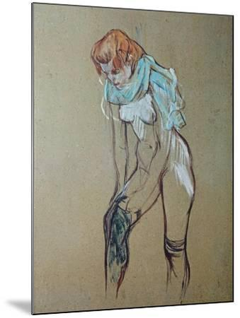 Naked Woman Putting a Stocking On-Henri de Toulouse-Lautrec-Mounted Art Print