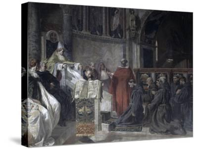 Saint Francis before Pope Innocent the Third-Vittorio Emanuele Bressanin-Stretched Canvas Print