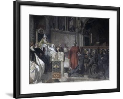 Saint Francis before Pope Innocent the Third-Vittorio Emanuele Bressanin-Framed Art Print