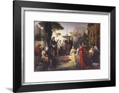 First Day of the Decameron (Author Boccaccio Is on Left in Red Cape)-Francesco Podesti-Framed Art Print