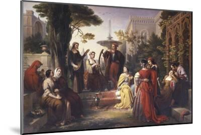 First Day of the Decameron (Author Boccaccio Is on Left in Red Cape)-Francesco Podesti-Mounted Art Print