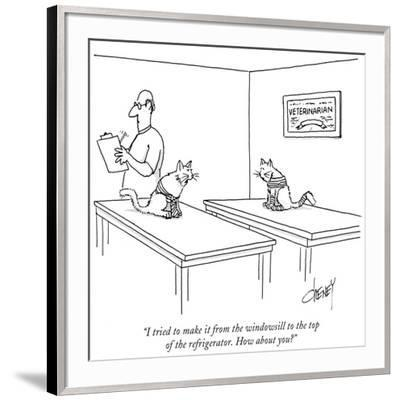 """""""I tried to make it from the windowsill to the top of the refrigerator. Ho…"""" - New Yorker Cartoon-Tom Cheney-Framed Premium Giclee Print"""