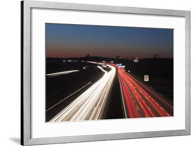 Rush Hour on the A8 Autobahn, Stuttgart, Baden Wurttemberg, Germany, Europe-Markus Lange-Framed Photographic Print