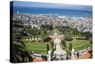 View over the Bahai Gardens, Haifa, Israel, Middle East-Yadid Levy-Stretched Canvas Print