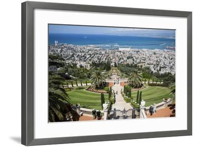 View over the Bahai Gardens, Haifa, Israel, Middle East-Yadid Levy-Framed Photographic Print