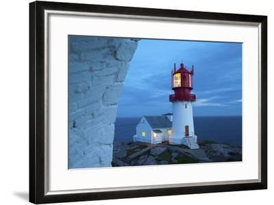 The Idyllic Lindesnes Fyr Lighthouse Illuminated at Dusk-Doug Pearson-Framed Photographic Print
