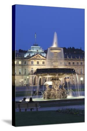 Neues Schloss Castle and Fountain at Schlossplatz Square-Markus Lange-Stretched Canvas Print