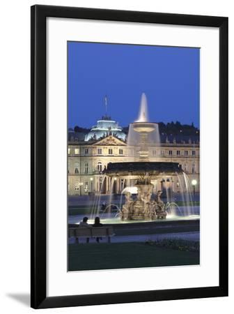 Neues Schloss Castle and Fountain at Schlossplatz Square-Markus Lange-Framed Photographic Print