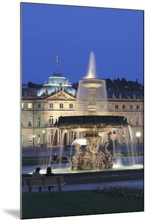 Neues Schloss Castle and Fountain at Schlossplatz Square-Markus Lange-Mounted Photographic Print