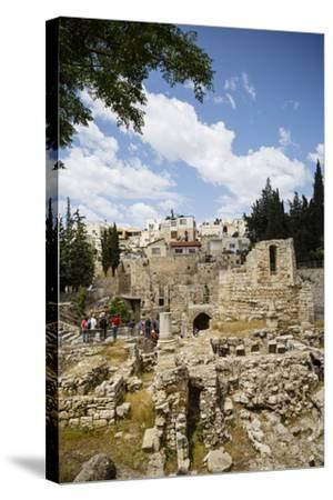 The Pool of Bethesda, the Ruins of the Byzantine Church, Jerusalem, Israel, Middle East-Yadid Levy-Stretched Canvas Print