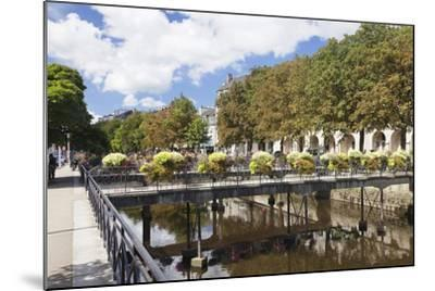 The River Odet and a Flower Decorated Bridge, Quimper, Finistere, Brittany, France, Europe-Markus Lange-Mounted Photographic Print