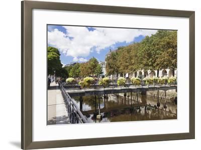 The River Odet and a Flower Decorated Bridge, Quimper, Finistere, Brittany, France, Europe-Markus Lange-Framed Photographic Print