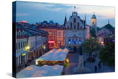 City Hall at Dusk, Market Square, Old Town, Rzeszow, Poland, Europe-Frank Fell-Stretched Canvas Print