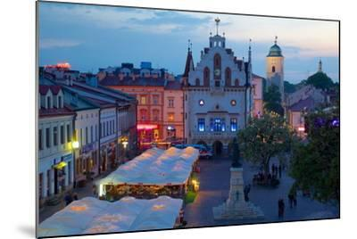 City Hall at Dusk, Market Square, Old Town, Rzeszow, Poland, Europe-Frank Fell-Mounted Photographic Print