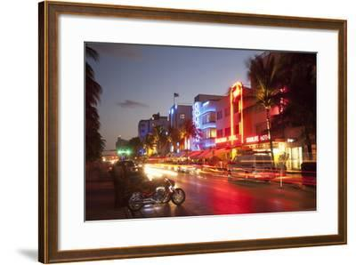Ocean Drive, South Beach, Art Deco District-Angelo Cavalli-Framed Photographic Print