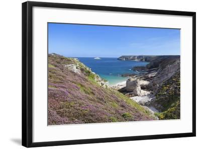 View Along the Cliffs of Cap Frehel to the Lighthouse, Cotes D'Armor, Brittany, France, Europe-Markus Lange-Framed Photographic Print