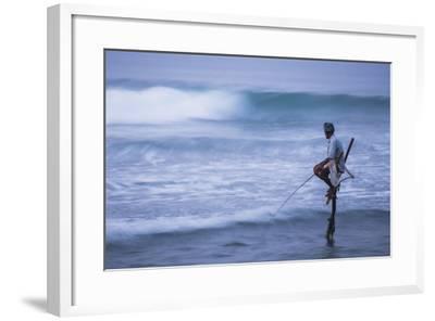 Stilt Fishing, a Stilt Fisherman in the Waves at Midigama Near Weligama, South Coast-Matthew Williams-Ellis-Framed Photographic Print