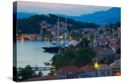 View over Old Town at Dusk, Cavtat, Dubrovnik Riviera, Dalmatian Coast, Dalmatia, Croatia, Europe-Frank Fell-Stretched Canvas Print