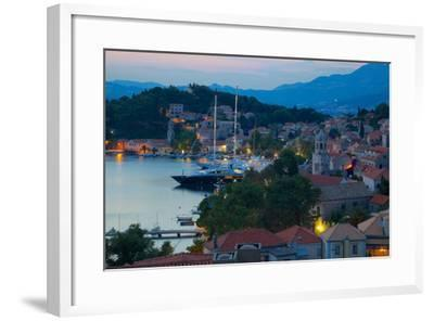 View over Old Town at Dusk, Cavtat, Dubrovnik Riviera, Dalmatian Coast, Dalmatia, Croatia, Europe-Frank Fell-Framed Photographic Print