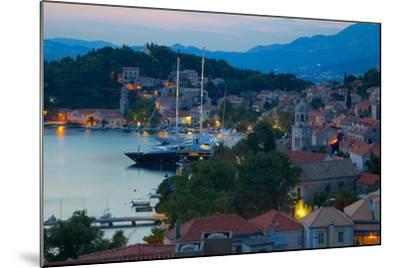 View over Old Town at Dusk, Cavtat, Dubrovnik Riviera, Dalmatian Coast, Dalmatia, Croatia, Europe-Frank Fell-Mounted Photographic Print