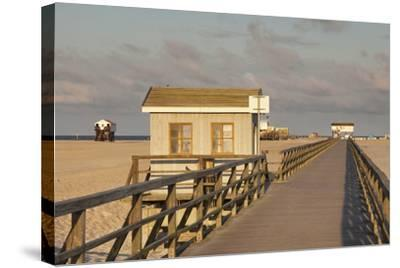 Pier and Sandy Beach-Markus Lange-Stretched Canvas Print