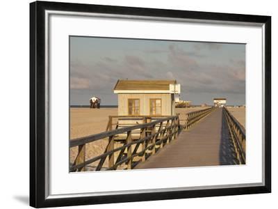 Pier and Sandy Beach-Markus Lange-Framed Photographic Print