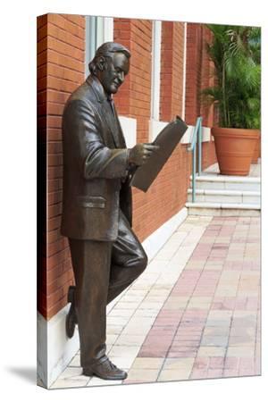 R. Manteiga Statue in Centro Ybor, Tampa, Florida, United States of America, North America-Richard Cummins-Stretched Canvas Print