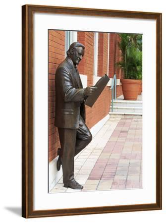 R. Manteiga Statue in Centro Ybor, Tampa, Florida, United States of America, North America-Richard Cummins-Framed Photographic Print