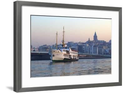 Ferry Boat in Golden Horn with Galata Tower in Background, Istanbul, Turkey, Europe-Neil Farrin-Framed Photographic Print