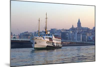 Ferry Boat in Golden Horn with Galata Tower in Background, Istanbul, Turkey, Europe-Neil Farrin-Mounted Photographic Print