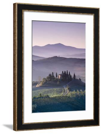 Iconic Tuscan Farmhouse, Val D' Orcia, UNESCO World Heritage Site, Tuscany, Italy, Europe-Doug Pearson-Framed Photographic Print