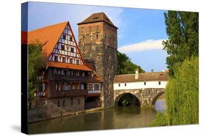 The Wine Store and Hangman's Bridge on the Pegnitz River, Nuremberg, Bavaria, Germany, Europe-Neil Farrin-Stretched Canvas Print
