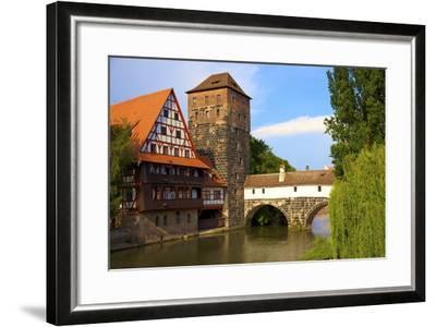 The Wine Store and Hangman's Bridge on the Pegnitz River, Nuremberg, Bavaria, Germany, Europe-Neil Farrin-Framed Photographic Print