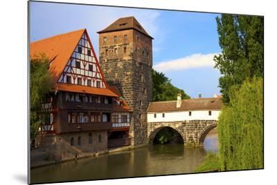 The Wine Store and Hangman's Bridge on the Pegnitz River, Nuremberg, Bavaria, Germany, Europe-Neil Farrin-Mounted Photographic Print