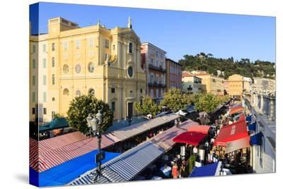 Outdoor Restaurants Set Up in Cours Saleya-Amanda Hall-Stretched Canvas Print
