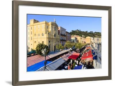 Outdoor Restaurants Set Up in Cours Saleya-Amanda Hall-Framed Photographic Print