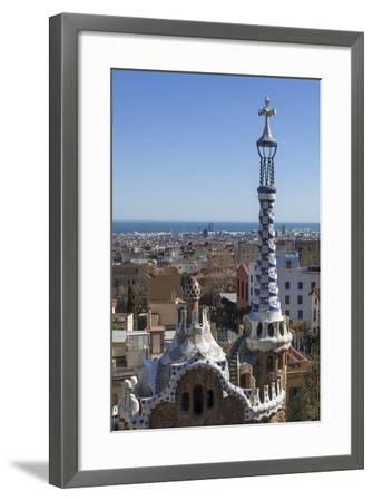 Multi Coloured and Patterned Glazed Ceramic Work Decorates a Roof in Parc Guell-James Emmerson-Framed Photographic Print