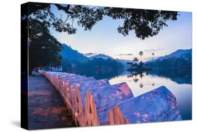 Kandy Lake and the Clouds Wall (Walakulu Wall) at Sunrise-Matthew Williams-Ellis-Stretched Canvas Print