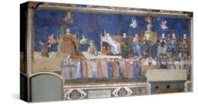 Allegory of Good and Bad Government: Good Government-Ambrogio Lorenzetti-Stretched Canvas Print