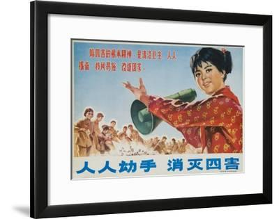 Everyone Together to Kill the 4 Evils, Original Chinese Cultural Revolution--Framed Giclee Print