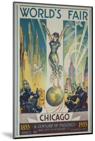 1933 Chicago Centennial World's Fair Poster--Mounted Giclee Print