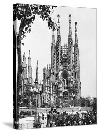 The Cathedral of the Sagrada Familia in Barcelona, 1939--Stretched Canvas Print