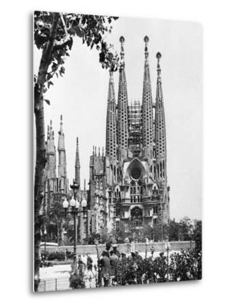 The Cathedral of the Sagrada Familia in Barcelona, 1939--Metal Print
