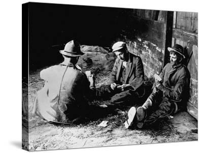 Vagrants Playing Cards in Railroad Car--Stretched Canvas Print