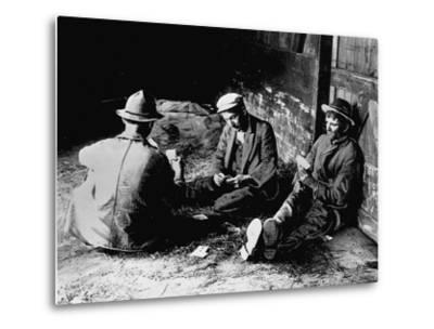 Vagrants Playing Cards in Railroad Car--Metal Print
