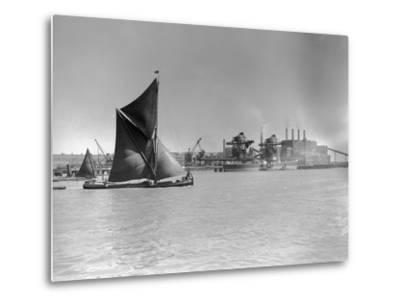 Sailboat Passes Ford Motor Works--Metal Print