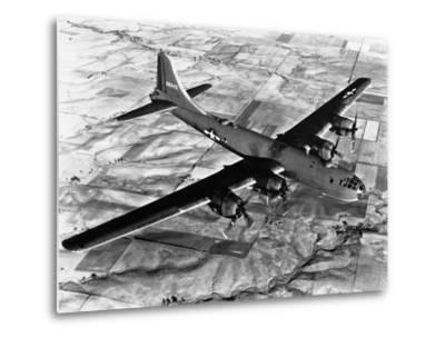 B-29 Flying over Japan's Countryside--Metal Print