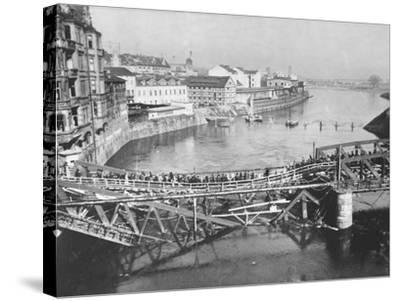 Temporary Bridge at Poznan, Poland, 1939--Stretched Canvas Print