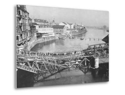 Temporary Bridge at Poznan, Poland, 1939--Metal Print