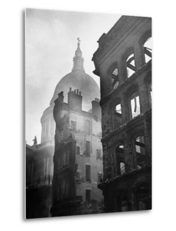Saint Paul's Cathedral Admist Ruins--Metal Print